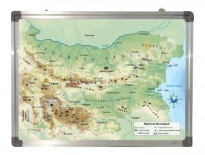 Географска карта на България в рамка